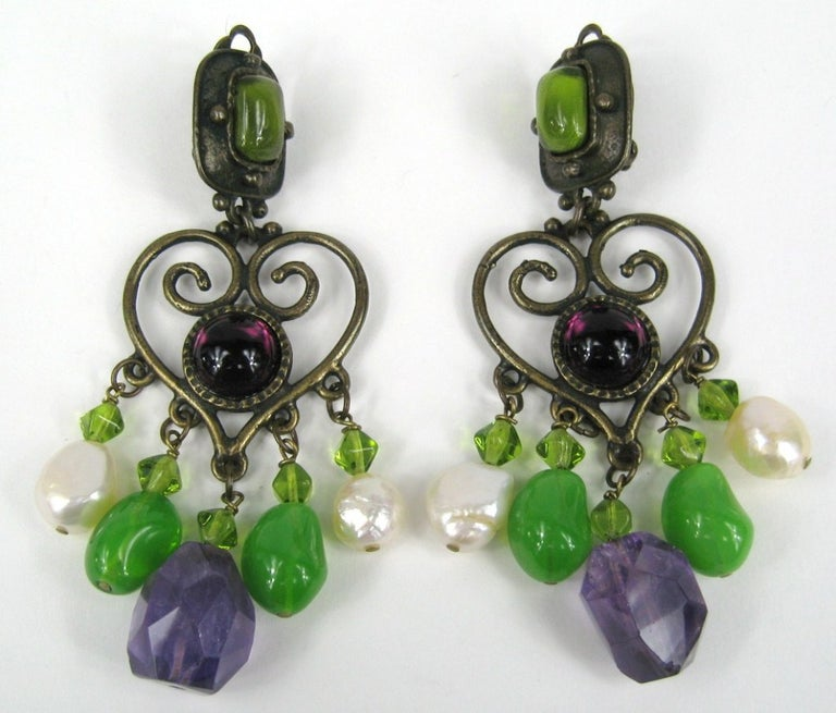 Ferrandis Chandelier Earrings with greens, purples and white. Stunning earrings. Famed Parisian artisan. Measuring 3-7/8 inches long. Philippe Ferrandis is an internationally renowned, French jewelry designer with over 25 years of dedicated work in