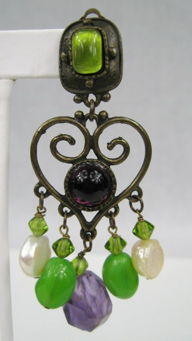 Philippe Ferrandis Amethyst & Pearl Chandelier earrings In Excellent Condition For Sale In Wallkill, NY