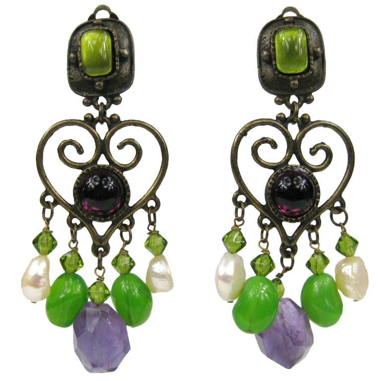 Philippe Ferrandis Amethyst & Pearl Chandelier earrings For Sale
