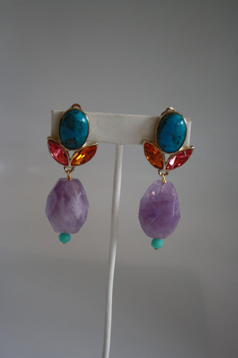 Philippe Ferrandis Amethyst, Turquoise, Glass Cabochon, & Crystal Clip Earrings In New Condition For Sale In Virginia Beach, VA
