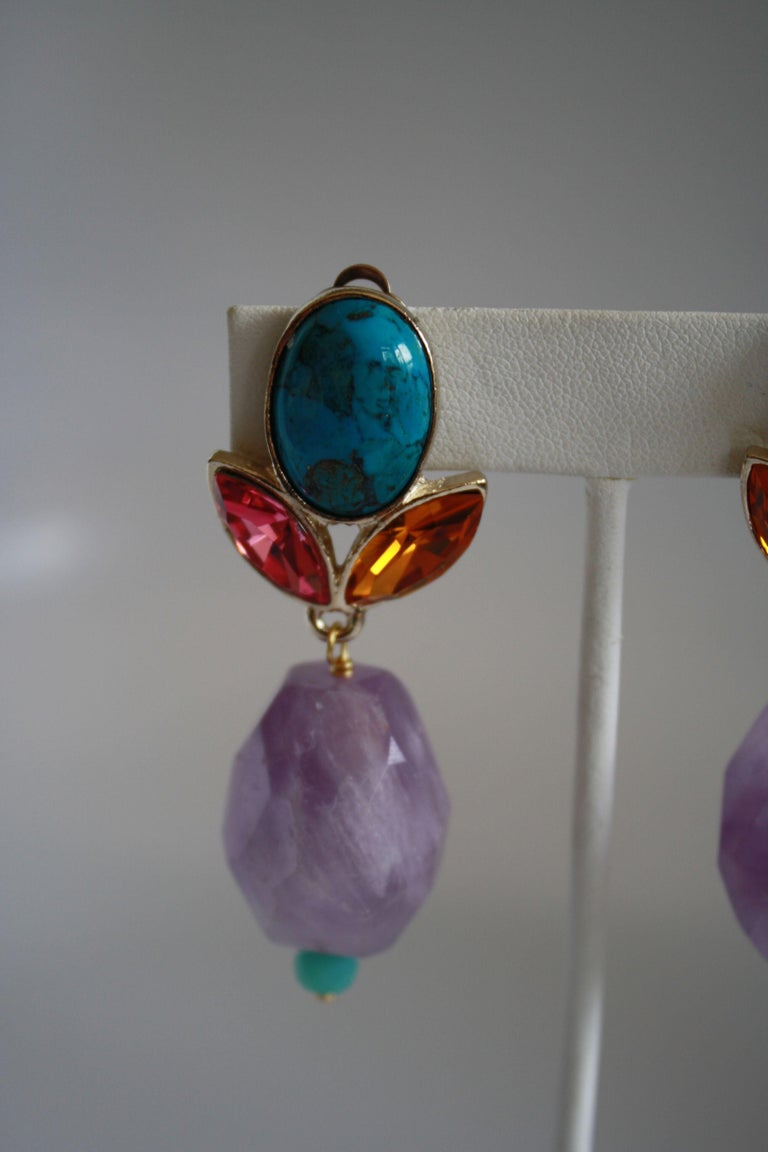 Women's Philippe Ferrandis Amethyst, Turquoise, Glass Cabochon, & Crystal Clip Earrings For Sale