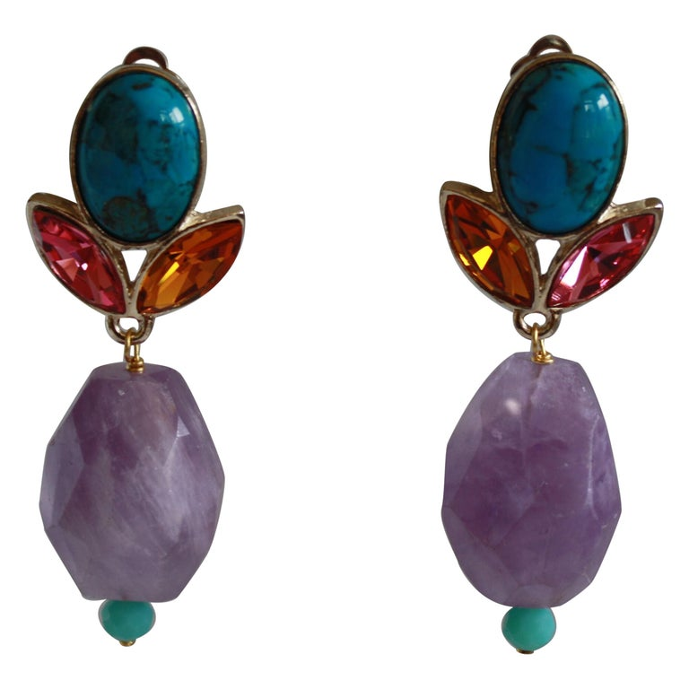 Philippe Ferrandis Amethyst, Turquoise, Glass Cabochon, & Crystal Clip Earrings For Sale