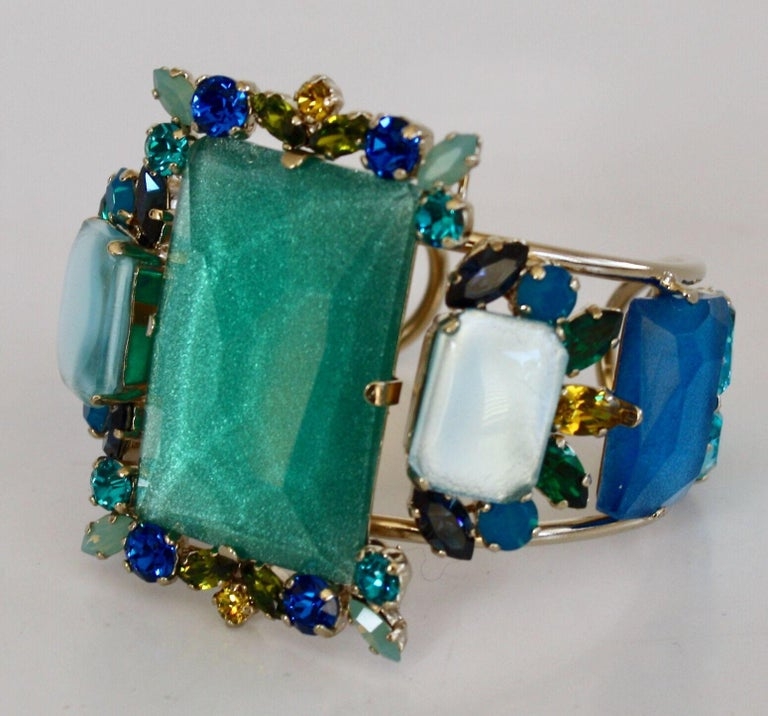 Magnificent cuff bracelet in shades of aqua, blue, and yellow Swarovski Crystals from Philippe Ferrandis.   Center stone is 2.25 x 2.5
