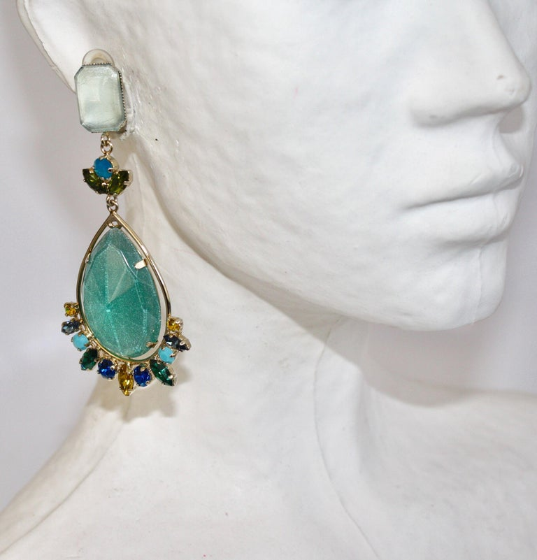 Handmade glass cabochon and Swarovski crystal clip earrings from Philippe Ferrandis.