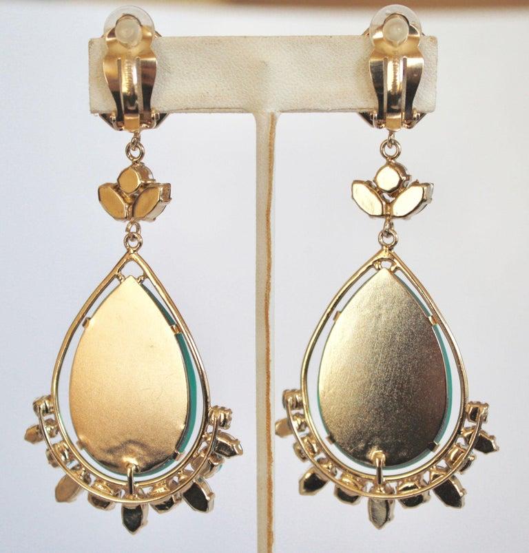Philippe Ferrandis Aqua Glass and Swarovski Crystal Clip Earrings In New Condition For Sale In Virginia Beach, VA