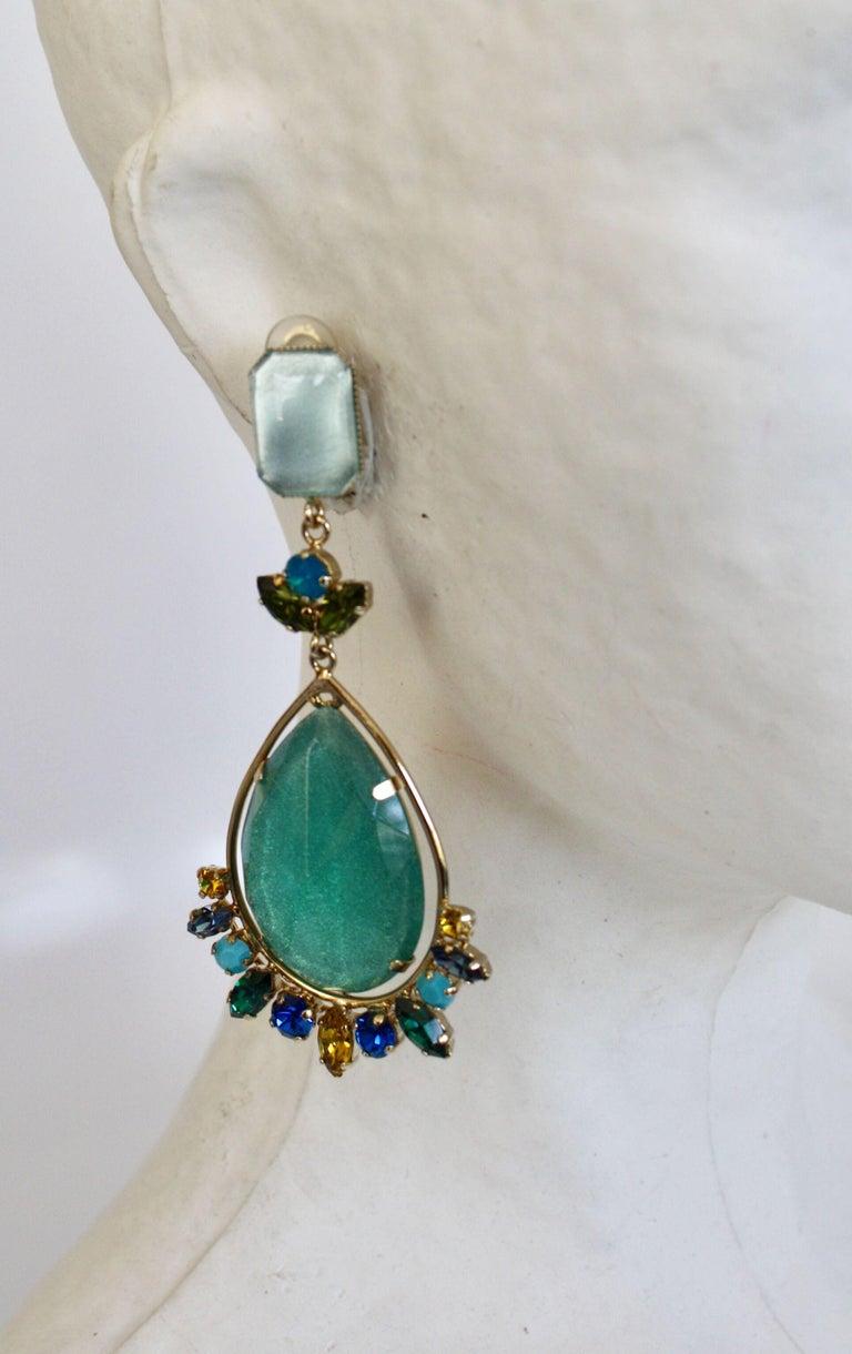Women's Philippe Ferrandis Aqua Glass and Swarovski Crystal Clip Earrings For Sale