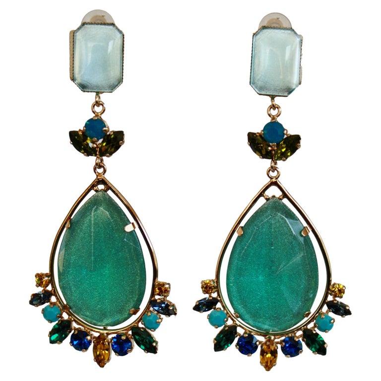 Philippe Ferrandis Aqua Glass and Swarovski Crystal Clip Earrings For Sale