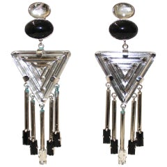 Philippe Ferrandis Art Deco Clip Earrings