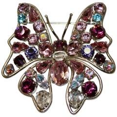 Philippe Ferrandis Butterfly Crystal Brooch