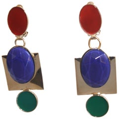 Philippe Ferrandis Cornelian, Lapis, & Malachite Clip Earrings