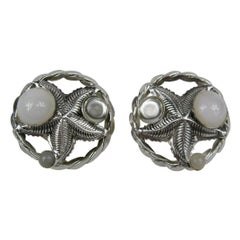 Philippe Ferrandis Earrings Glass Cabochons Silver Starfish, Never Worn - 1990s