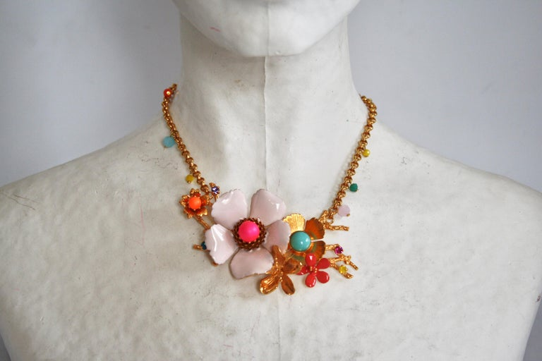 Philippe Ferrandis Enamel and Glass Cabochons Necklace In New Condition For Sale In Virginia Beach, VA