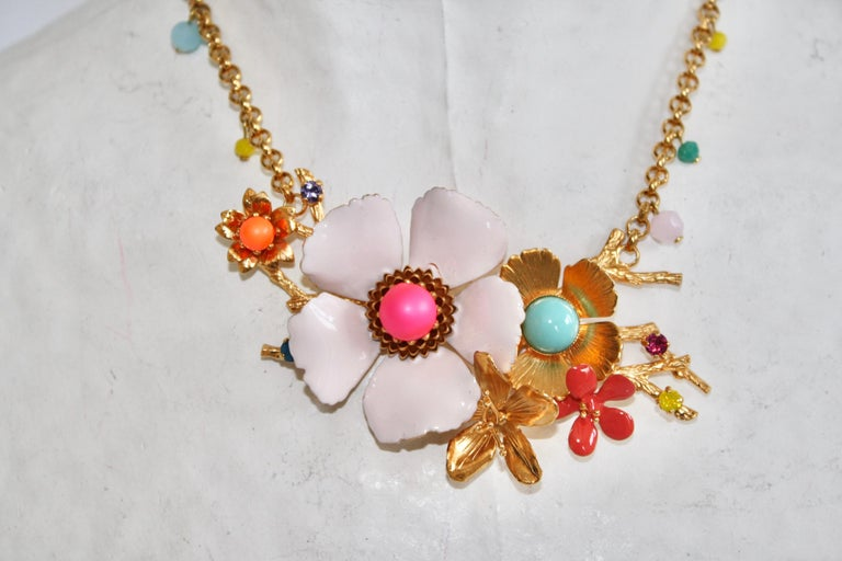 Philippe Ferrandis Enamel and Glass Cabochons Necklace For Sale 1