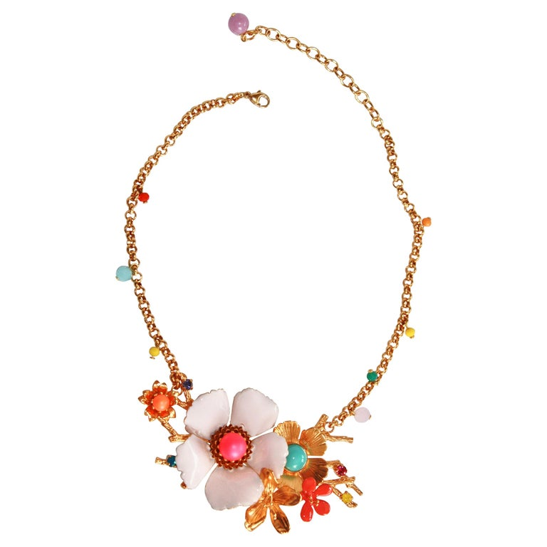 Philippe Ferrandis Enamel and Glass Cabochons Necklace For Sale