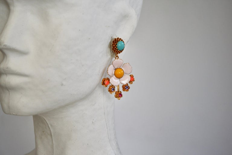Women's Philippe Ferrandis Enamel and Glass Cabochons Pierced Earrings For Sale