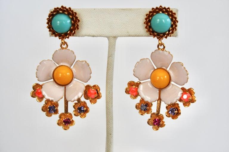 Philippe Ferrandis Enamel and Glass Cabochons Pierced Earrings For Sale 1