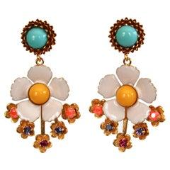 Philippe Ferrandis Enamel and Glass Cabochons Pierced Earrings