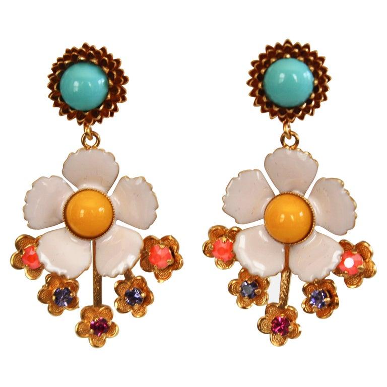 Philippe Ferrandis Enamel and Glass Cabochons Pierced Earrings For Sale