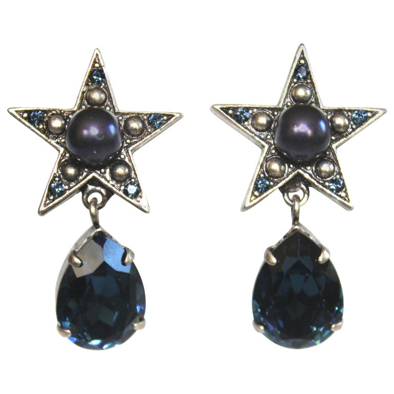 Philippe Ferrandis for Jacques Fath Star Clip Earrings For Sale
