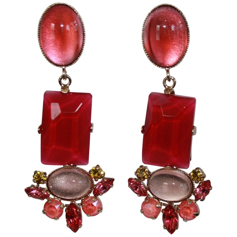 Philippe Ferrandis Fuchsia and Pink Clip Earrings  For Sale