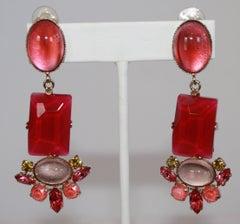 Philippe Ferrandis Fuchsia and Pink Clip Earrings