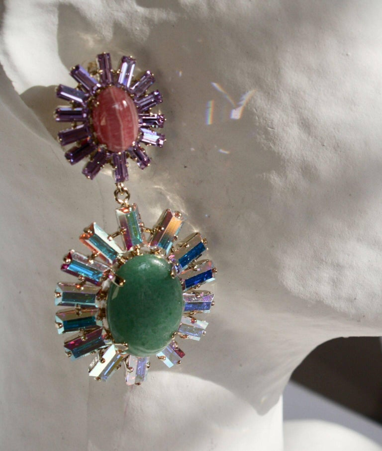 Pink and green stone earrings with Swarovski crystals from Philippe Ferrandis.