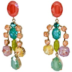 Philippe Ferrandis Glass and Crystal Statement Earrings