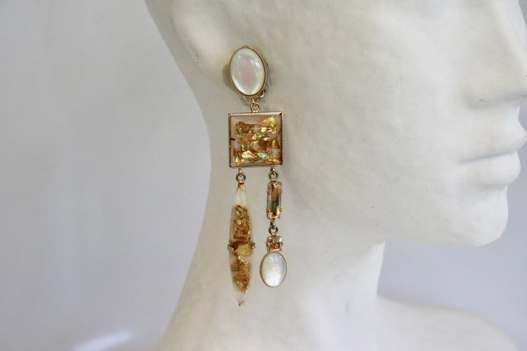 Gold and pearl glass clip earrings from Philippe Ferrandis.