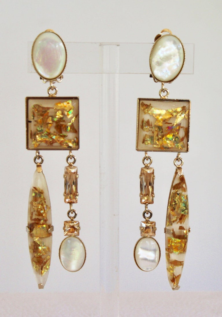 Philippe Ferrandis Glass Cabochon and Crystal Statement Clips In New Condition For Sale In Virginia Beach, VA