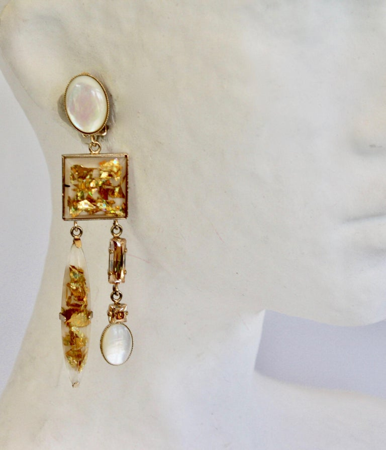 Women's Philippe Ferrandis Glass Cabochon and Crystal Statement Clips For Sale