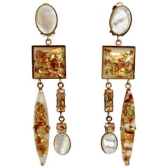 Philippe Ferrandis Glass Cabochon and Crystal Statement Clips