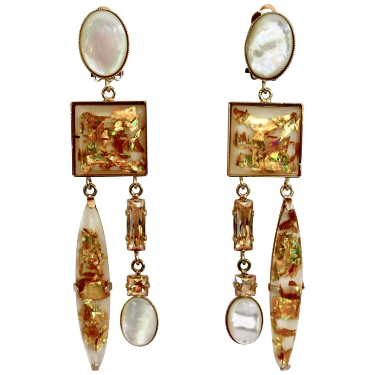 Philippe Ferrandis Glass Cabochon and Crystal Statement Clips For Sale