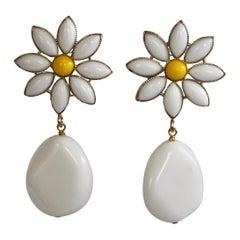 Philippe Ferrandis Glass Drop Clip Daisy Earrings