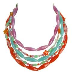 Philippe Ferrandis Glass Layered Bib Necklace New Never worn - 1990s