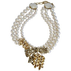 Philippe Ferrandis Glass Pearl and Swarovski Bow Crystal Statement Necklace