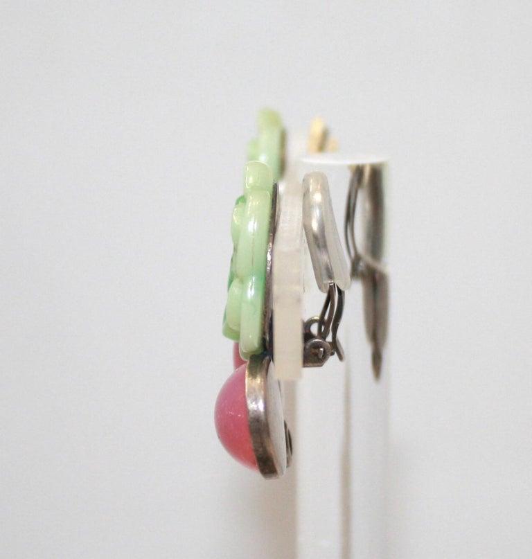Artisan Philippe Ferrandis Green Flower Clip earrings For Sale
