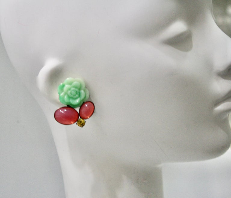 Women's or Men's Philippe Ferrandis Green Flower Clip earrings For Sale