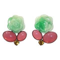 Philippe Ferrandis Green Flower Clip earrings