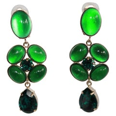 Philippe Ferrandis Green Glass Cabochon and Swarovski Crystal Clips