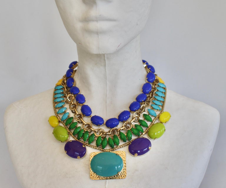 """Philippe Ferrandis Handmade Glass and Pale Gold Metallic Treatment Necklace. Middle drop is 1.75""""x 1.25""""."""