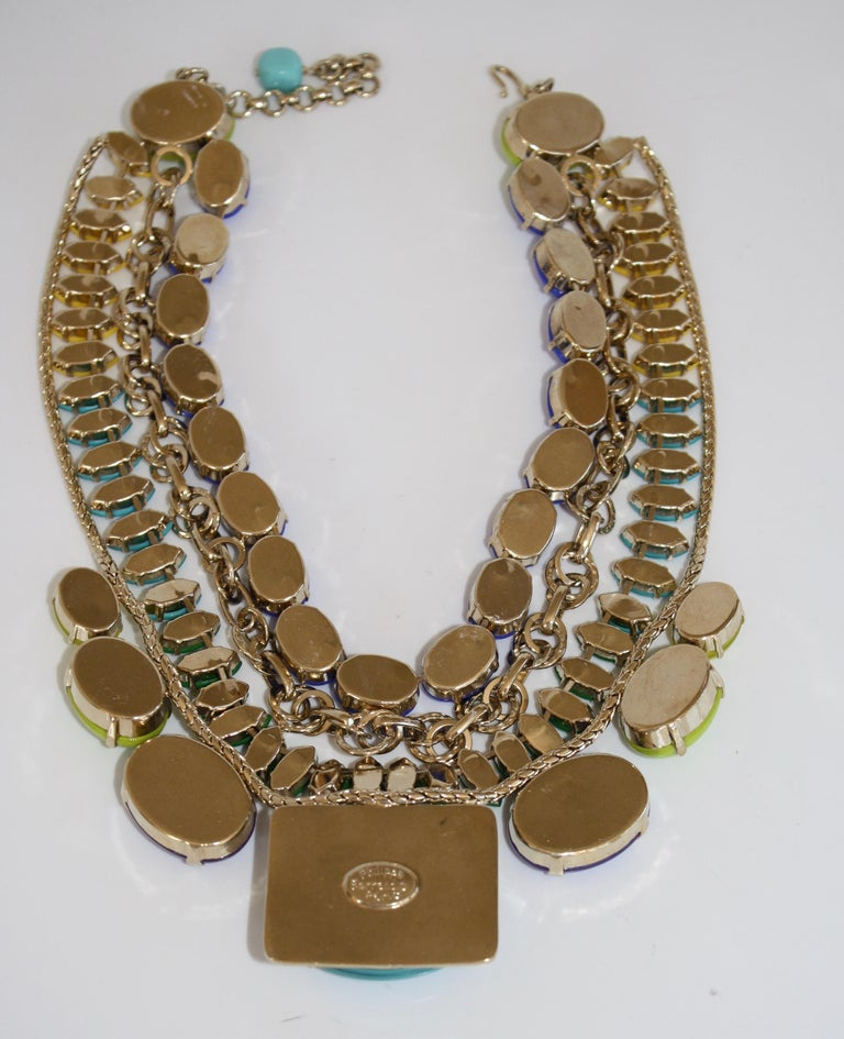 Philippe Ferrandis Handmade Glass and Pale Gold Metallic Treatment Necklace For Sale 3