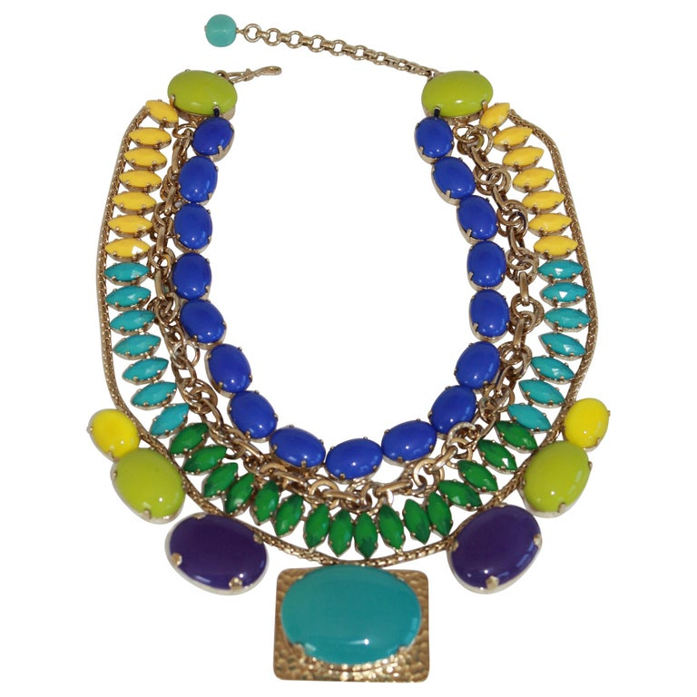 Philippe Ferrandis Handmade Glass and Pale Gold Metallic Treatment Necklace For Sale