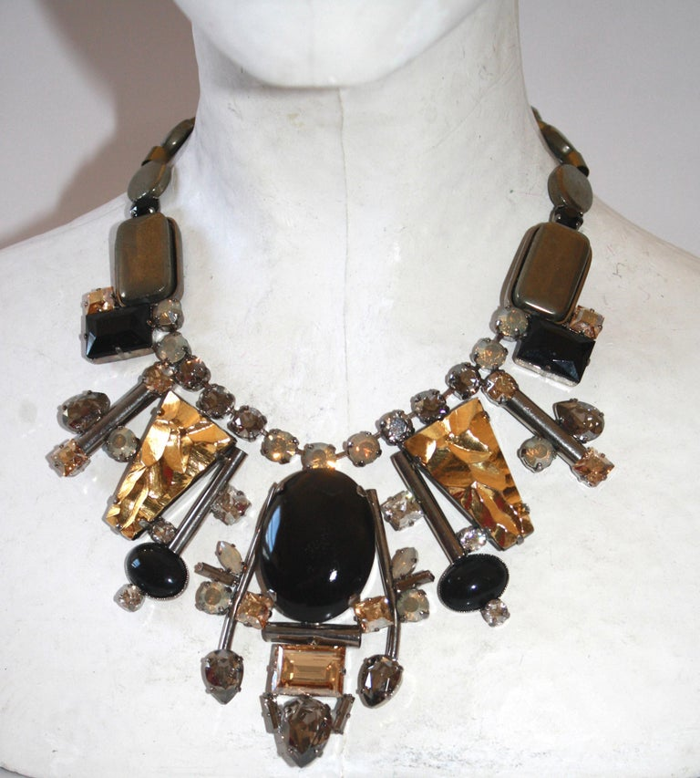 Philippe Ferrandis handmade glass, pyrite, Swarovski crystal, embossed gold and stainless steel necklace.