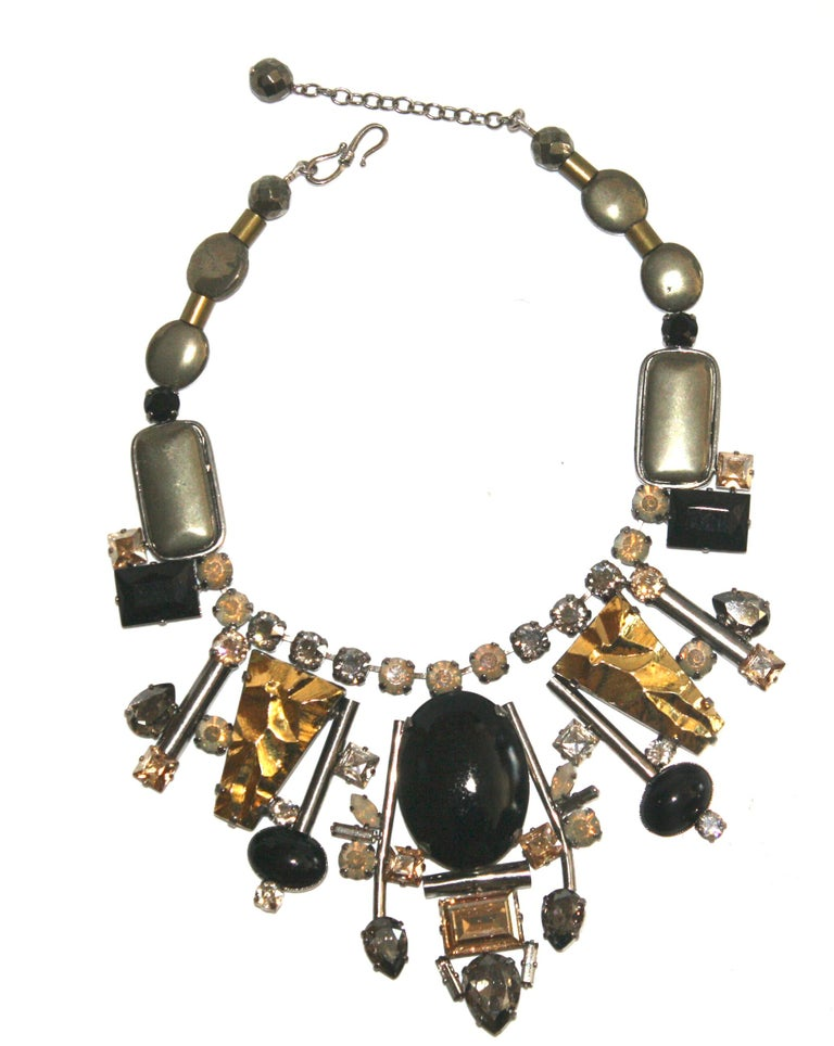 Philippe Ferrandis Handmade Glass and Pyrite Necklace In New Condition For Sale In Virginia Beach, VA