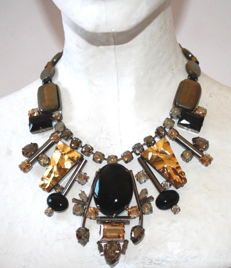 Women's or Men's Philippe Ferrandis Handmade Glass and Pyrite Necklace For Sale