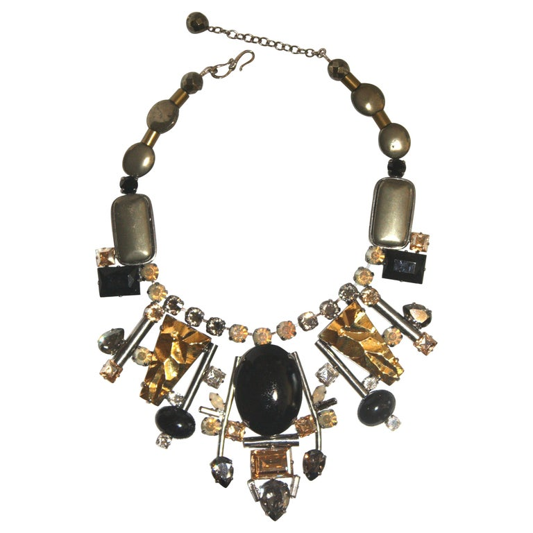 Philippe Ferrandis Handmade Glass and Pyrite Necklace For Sale