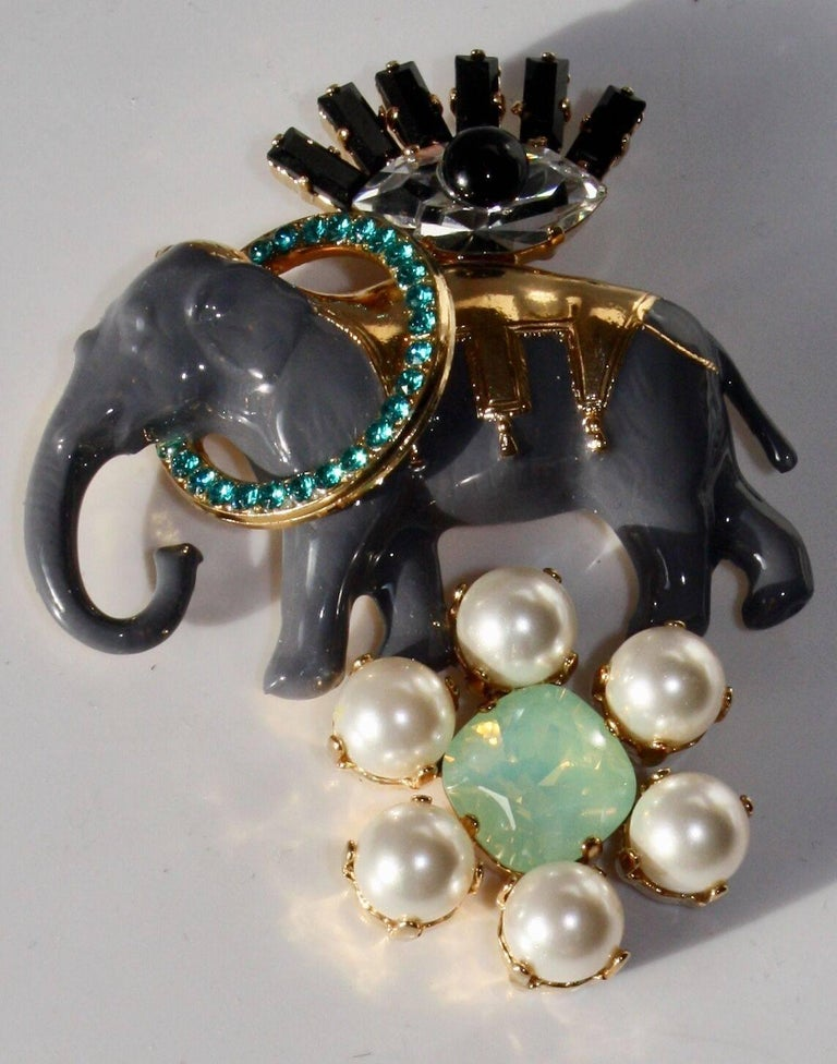Swarovski crystal, glass pearl, and resin elephant pin from Philippe Ferrandis.