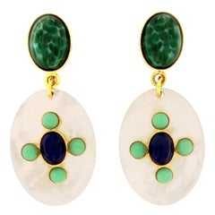 Philippe Ferrandis Mother of Pearl Pierced Earrings
