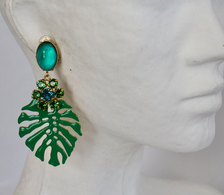 Glass, Swarovski crystal, and enamel clip earrings from French designer Philippe Ferrandis.