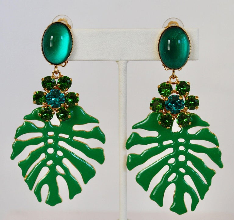 Women's Philippe Ferrandis Palm Leaf Clip Earrings For Sale